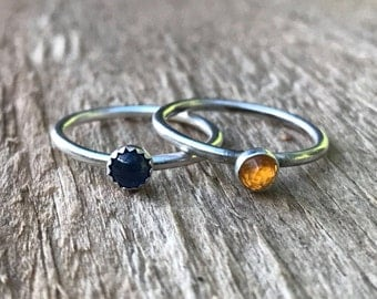 Birthstone and Sterling Silver Stacking Ring, 4 mm Custom Birthstone Sterling Silver or Gold Ring - Pick your Stone