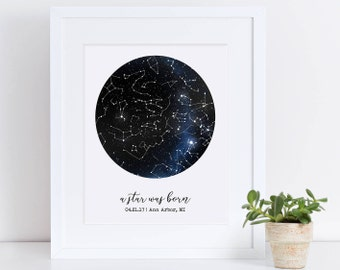 Custom Framed Constellation Map, Mother's Day 2018, First Anniversary Gift, Star Print, Engagement Gift, New Baby Gift, Cool Gift Idea