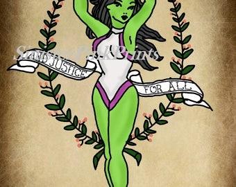 Canvas/Wood - She-Hulk Tattoo Flash Print