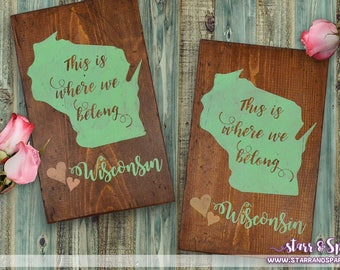 Custom Wisconsin Hand Painted Wisconsin Wood Signs for Home Decor, Accents, Displays, Furniture