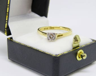 LOVELY 18ct 18K Yellow Gold Art Deco Diamond Solitaire Engagement Ring SIZE O