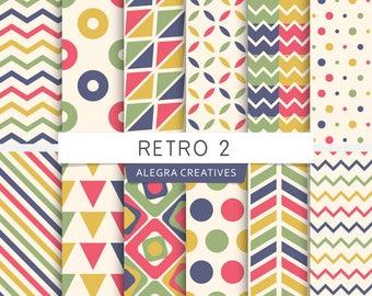 Retro digital paper, chevron, herringbone, triangles, stripes, retro colors, patterns, scrapbook papers (Instant Download)