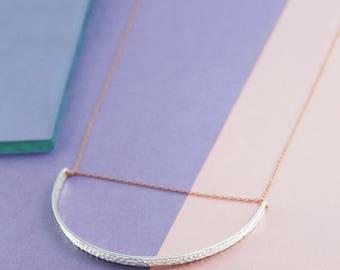 ON SALE NOW Long Necklace, Drop Necklace, Statement Necklace, Geometric Pendant, Silver and Rose Gold Necklace, Half Circle Necklace, Chain