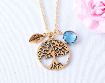 VACATION SALE Gold tree of life necklace, tree Initial and birthstone necklace, tree jewellery, tree gift, tree jewelry, tree jewellery, GPT