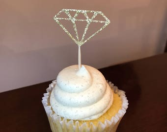 12 Diamond cupcake toppers, engagement party, bridal shower, bachelorette party, wedding decorations.