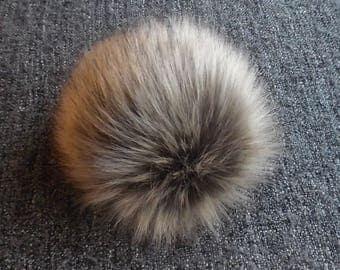Size M, ( grey - beige ) faux fur pom pom 5 inches/13 cm