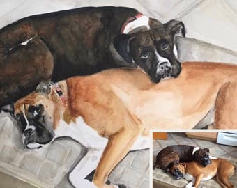 Custom Pet Portrait/Painting Boxers