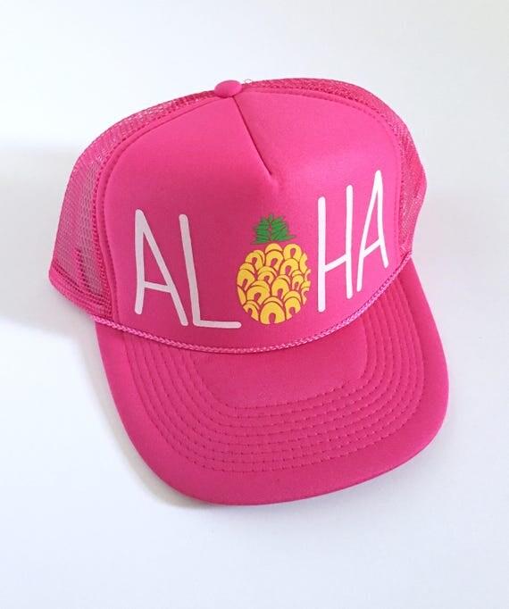 Aloha Trucker Hat Pink Screen Print| Aloha Hat| Hawaii Hat| Pineapple Hat| Pineapple| Beach Hat| Pink Hat
