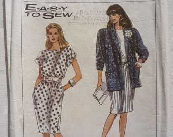 Simplicity Sewing Pattern for Women 9045 Complete Cut Original Paper Pattern 1989 Ladies Dress and Unlined Jacket Size 14