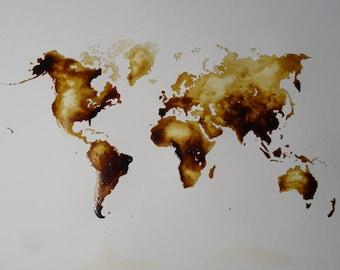World Map coffee painting