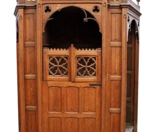 Antique Religious Church Confessional in Oak dating from the 19th Century #8352