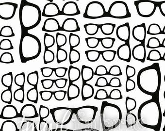 Woven Fabric - Geekery Spectacles Mavro - Fat Quarter Yard +