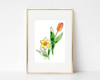 Spring flowers DIGITAL DOWNLOAD, Tulip Art, Daffodil art, Spring printable, Watercolor Flowers, Easter flowers, Easter printable