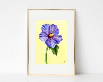 Hibiscus DIGITAL DOWNLOAD, Spring Printable Art, Spring decor, Purple hibiscus artwork, spring flowers, Easter artwork, Hibiscus watercolor