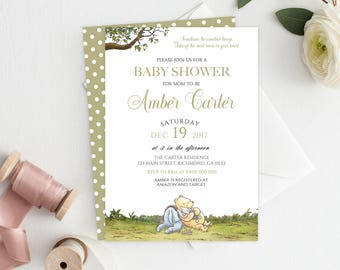 Winnie the Pooh Invitation, Classic Pooh Invitation, Baby Shower Invitation, Pooh, Pooh Bear, Pooh Invitation, Printable Invitation, White