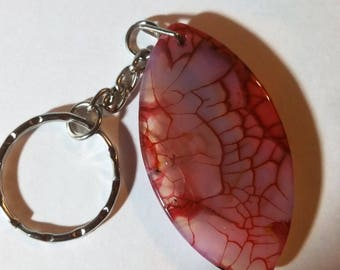 Split Key Ring with  red dragon veins agate olive pendant bead