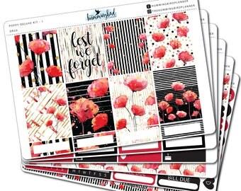 Poppy Deluxe Kit   DK20   Planner Stickers for Erin Condren Vertical Planners - Physical Item