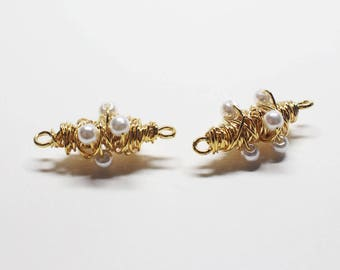 P0752/Anti-Tarnished Gold Plating Over Brass/Wired 6 pearls Pendant/28.5x12.6mm/2pcs