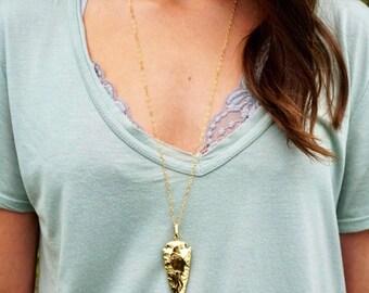 Gold arrowhead necklace, arrowhead necklace, 14 kt gold filled necklace, dainty gold necklace, arrowhead pendant