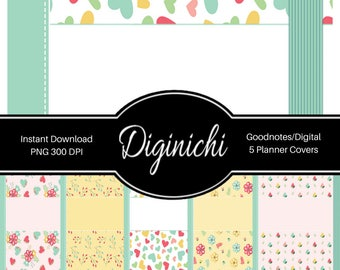 Floral Hearts - Digital Covers for Goodnotes Digital Planners and Journals - PNG & Printable