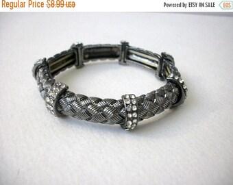 ON SALE Vintage Silver Tone Snake Reptile Pattern Clear Rhinestones Stretch Bracelet 83116