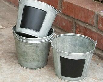 galvanized buckets bulk 10 metal tin pails with chalkboard farmhouse decor rustic ice