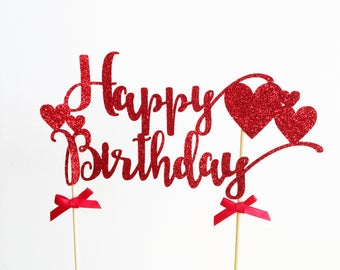 Happy Birthday Cake Topper, Heart Birthday, Glitter Topper, Birthday Party, Party Supplies, Cake Centrepiece, Birthday Cake Decoration