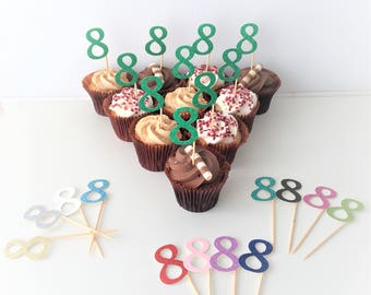 Cupcake Number Topper. Eight. Eighth Birthday Party. Glitter Toppers. Set of 10 Party Picks. 8th Birthday. Cake Accessories. Centrepieces.