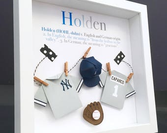Personalized baby etsy personalized baby name origin and meaning paper origami baseball new york yankees shadowbox frame newborn baby negle Image collections