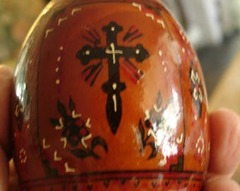 Vintage Large Ukraine Religious Icon handpainted wooden egg,Christian folk art,religious relic,USSR,temple,Cross,Mother and child,russia art