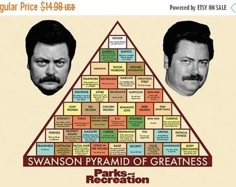 HOLIDAY SALE RON Swanson Pyramid of Greatness Poster 36x24 inches Parks and Rec