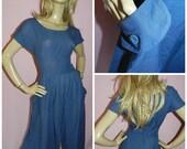 Vintage 70s 80s Navy Blue Slouchy slit Day dress 14 M 1970s 1980s Summer Boho