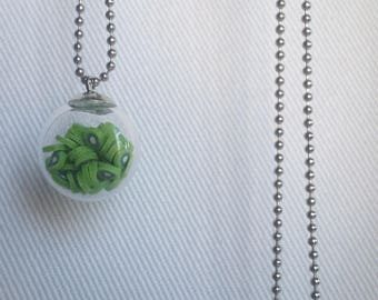 Necklace glass bubble and kiwi Fimo cocktail necklace