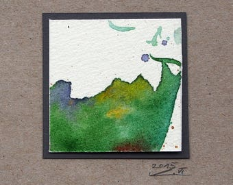 Miniature (48), watercolor, abstract art, small gift, square image, original, green, wall decoration, ink drawing, small thank you, painting