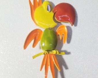 Vintage Enamel Parrot Pin Brooch Signed Art
