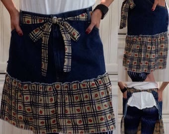 SALE Denim half apron cotton vintage Apple print ruffle cotton vintage Apple print long waist ties dark blue denim apron repurpose denim