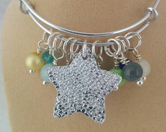 Charm Bracelet, Textured, Adjustable Bangle, Aluminium, Beads, Gift for Her, Sea Themed