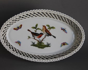 Herend Rothschild Bird Oval Reticulated Openwork Square Basket # 7375 RO