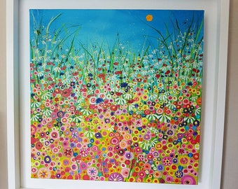 Original acrylic, floral meadow painting on box canvas. Summer Riot.