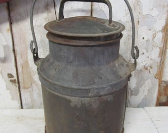 Vintage Metal Milk Can, Farmhouse Decor, Rustic Decor, Primitive Decor