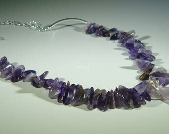 Amethyst Stick Beads, Amethyst Pendant and Sterling Silver Chain Necklace