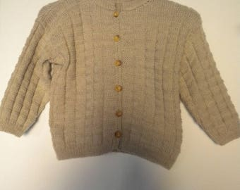 round neck sweater hand knit in beige color for child