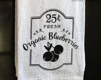 Flour Sack Tea Towel - Organic Blueberries - Kitchen Decor - Farmhouse Kitchen