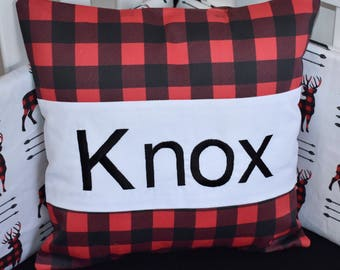 Personalized Pillow , lumberjack pillow, red buffalo plaid pillow, baby pillow, embroidery pillow