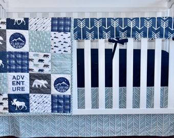 MOOSE ADVENTURE, modern nursery, modern quilt, woodland, boy nursery, hunting, indigo, spa blue, charcoal, minky quilt