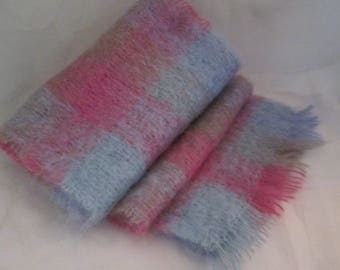 Vintage Mohair Blue and Pink Plaid Scarf. Made in Ireland by FOXFORD Woollen Mills. For those Chilly Winter Days and Nights!