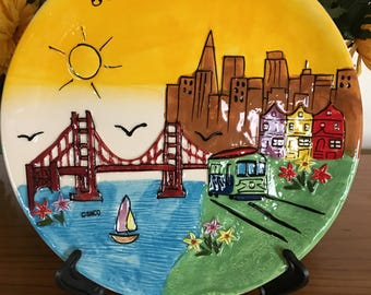 """Souvenir 8"""" Plate of San Francisco with Stand"""