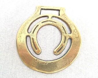 "FREE SHIPPING Lucky Horseshoe Horse Brass, Handmade English Mid Century Brass, 2.75"" x 3.5"", Circa 1960"