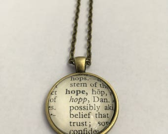 HOPE Vintage Dictionary Word Pendant