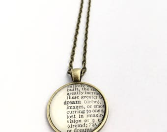 DREAM Vintage Dictionary Word Pendant